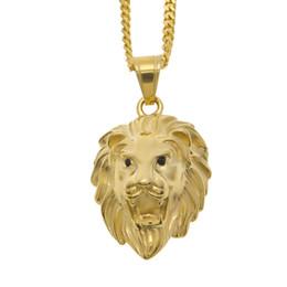 Wholesale mens lion head necklace - Mens Hip Hop Lion Pendant Necklace Fine Gold Plated Lion Head Face Pendant Silver Crystal Eye Charming Jewelry