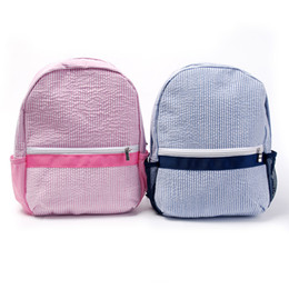 Canada 24 * 10 * 31 cm Seersucker Sac à dos en gros blanks Toddler School Bag avec côté Mesh Bottle Pockets cadeau école livre sac pour le printemps DOM106187 Offre