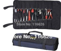 Al por mayor-Libre envío barato Rolling Canvas Tool Bag para electricista Durable plegable Bolsa de almacenamiento Fácil de llevar sin herramientas desde fabricantes
