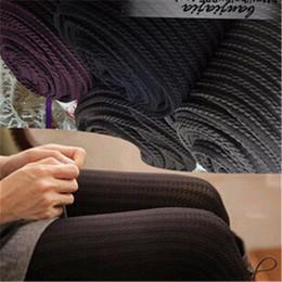 Wholesale Tights Women Velvet Stripe - Wholesale- Women Winter Warm Velvet Slim Vertical Stripe Twist Jacquard Tights CJ200