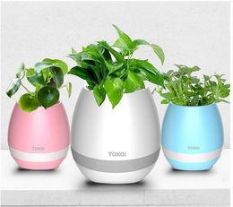 Wholesale Big Plastic Plant Pots - Hot Mini Smart Flowerpot Sensor Bluetooth Speaker Flower Pot Plastic Green plant Pots Decorative Macetas Pot Playing Smart Music