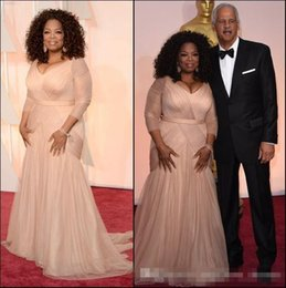Wholesale Oscar Bride - 2016 Oprah Winfrey Oscar Celebrity Dresses Plus Size Evening Dresses V Neck Sheath Chiffon With Long Sleeves Mother Of Bride Groom Dresses