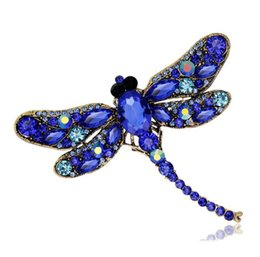 Wholesale Dragonfly Rhinestone Brooch - Rhinestone Dragonfly Brooches For Women Antique Gold Color Scarf Lapel Brooch Pins Animals Crystal Jewelry Gifts free shipping