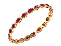 Wholesale Natural Diamond Certified - Genuine Natural Certified Diamond 14K Solid Gold Ruby Gemstone Bridal Bangle