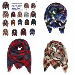 Wholesale Neckerchief Shawl - Kids Plaid Scarf Baby 100*100CM Tartan Scarf Wraps Autumn Winter Baby Scarf Shawl Kids Plaid Blanket Wraps Warm Neckerchief 120pcs OOA2753