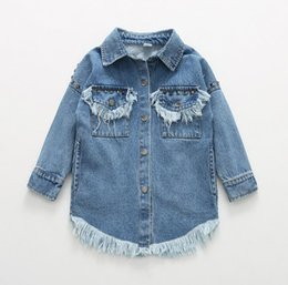 Wholesale Denim Shirt Rivets - 2017 New Spring Girls Denim Shirt Long Sleeve Tassels Rivets Tops Jeans Cowboby Shirts Baby Children Demin Blouses
