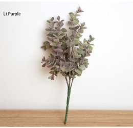 Wholesale Grass Planting - Free shipping Spring Feeling 2color Artificial Eucalyptus Plant Pulverulenta Bouquet grass Home Party Wedding Chamber Desk Bottle Decoration