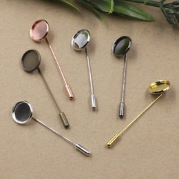 Wholesale Trays For Glasses - Mix color 10MM 12MM 14MM 16MM 18MM 20MM round stick brooch lapel pin blank for glass cameo cabochon jewelry setting bezel tray silver gold