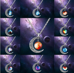 Wholesale Gemstone Silver - Swarovski Starry Outer Space Universe Gemstone Silver Chain Moon Necklaces Pendant Galaxy Half Crescen Glass Moon Necklace free shipping