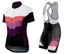 Camiseta de ciclismo rosa equipo femenino online-Pantalón corto y babero de ciclismo para mujeres del equipo Purple Pink Pro transpirable Ropa Ciclismo vrouwen fietskleding wielrennen 2019