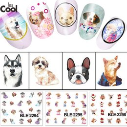 Wholesale Light Blue Nail Polish - Wholesale- 1 Sheet Cute Dog Design Nail Art Polish Stickers Water Transfer Decals Foils Manicure Beauty Wraps Decorations BLE2292-2302