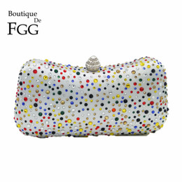 box shaped clutch bag 2018 - Wholesale- Multi Crystal Women Evening Bags  White Satin Bridal 63ea1a5c2316
