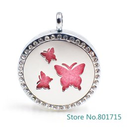 "Wholesale Magnet Necklaces - XX038 ""Butterfly"" Magnet Aromatherapy Essential Oil Stainless Steel Perfume Diffuser Locket Necklace with chain&pads Jewelry"