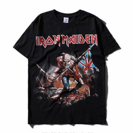 Wholesale Vintage Band Tees - IRON MAIDEN Music Band T-shirt Mens Heavy Metal Rock Tee shirt Rock Punk Streetwear Fashion Tees 2017 Fashion Vintage Tees Tops