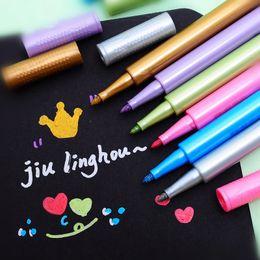Wholesale gallery photos - Wholesale-6pcs   lot Multicolor Gel Pen Photo Gallery Greeting Cards Pen DIY Colorful Marker Pen Watercolor Pen Pastel for School Painting