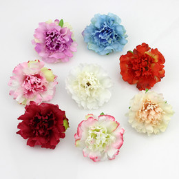 Wholesale Head Party Supply - Wholesale- 50pcs lot Approx 5cm Artificial carnation Flower Head Handmade Home Decoration DIY Event Party Supplies Wreaths
