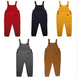 Wholesale Baby Winter Overalls - INS 5 colors New Arrivals boy and girl kids Cotton knit Suspenders overall high quality Cotton pants elegant baby kids romper pants