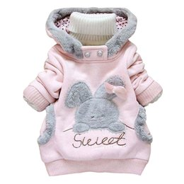 Wholesale Hoody Sweeter - Wholesale- New Fashion Toddler Baby Lovely Hooded Sweatshirts Children Girls Sweet Cartoon Rabbit Cashmere Sweater Hoody Kids Tops Clothing