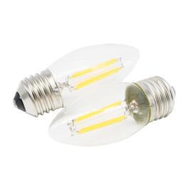 Wholesale vintage white glass lamp - Led Filament Bulb Vintage Edison C35 E27 4W AC220V   110V Clear Glass Shell 360 Degree COB Lamp LED Candle Light Bulbs