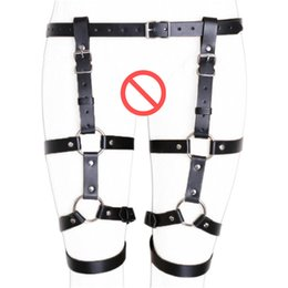 Wholesale hot sex waist - Hot Erotic Thigh Loop Harness Belts Leather Body Bondage Waist Cincher Straps Open Crotch Fetish Panties BDSM Costume Sex Toys