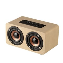 Wholesale Mini Wooden Boxes - Wooden Wireless Bluetooth Speaker Portable HiFi Dual Speakers Shock Bass Soundbar 10W High Power Subwoofers for iPhone Samsung TF Card AUX