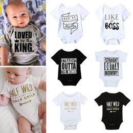 Wholesale Shorts For Toddler Boys - Summer Fashion Baby Girls Boys Rompers Jumpsuits Letter Printed Pure Cotton Short Sleeve Toddler Bodysuit 7 Style For Choose A7157