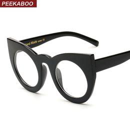Wholesale Vista Black - Wholesale- Peekaboo trendy eye glasses frames for women cat eye black clear big round eyeglasses frame women brand gafas de vista