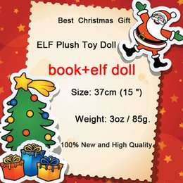 Wholesale Puppets Books - New Plush ELF Dolls+Book Red Girl & Boy Figure Christmas elves of Christmas Novelty Toys Xmas Gift For Kids Holiday Gift