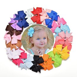 Wholesale Multi Ribbon Hair Bow - Fashion 3 inch Baby Girl Bows Hair Clips Boutique Hair Pin Grosgrain Ribbon Bows Hairpins Kids Headwear Accessories