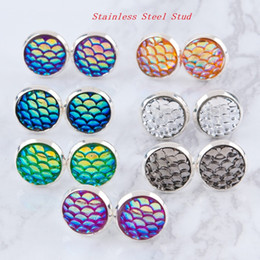 Wholesale Black Dragons Earrings - 12 COLORS MERMAID Scale Earrings Resin Dragon Fish Scale Cabochon Stainless Steel Stud Earrings For Women Birthday Gift Fine jewelry