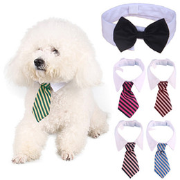 Wholesale dog bow ties for weddings - Dog Grooming Cat Striped Bow Tie Animal Striped Bowtie Collar Pet Adjustable Neck Tie White Collar Dog Necktie For Party Wedding
