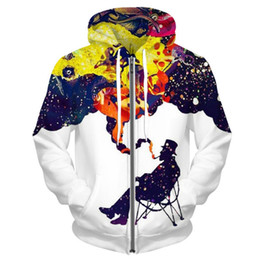 Wholesale Graphic Design Clothes - Wholesale- Funny Men Hoodies And Sweatshirts A Man Smoking Graphic Streetwear Creative Colorful Design Pullover Fashion Male Clothing
