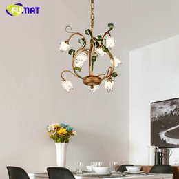 Wholesale Pendant Metal Shade - FUMAT American Style Chandeliers Living Room Bed Room European Metal Lights Corridor Glass Shade Suspension Lamp Warm Chandelier