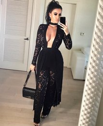 Wholesale Lace Rompers Xs - Wholesale- New arrive best quality 2017 women black lace jumpsuit deep v-neck full sleeve summer jumpsuit full length jumpsuits rompers