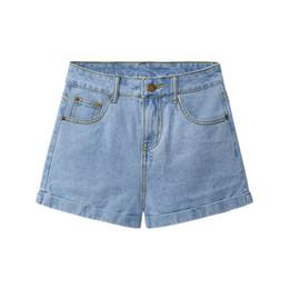 Wholesale Korean Short Jeans Style - High waist shorts jeans women summer light color Korean style curl loose wide leg female pants