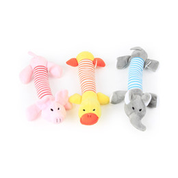 Wholesale Cute Duck Plush - Wholesale- 0-12month Baby Toys Baby Rattle 2017 Cute Animal Pig Duck Elephant Catoon Hand Bell Ring Rattles Kid Plush Soft Toy Toys MR052