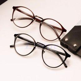 Wholesale Color Frame Clear Glasses Wholesale - Wholesale-Fashion Clear Lens Eyeglasses Frame Unisex Retro Round Eyewear Men Women Glasses