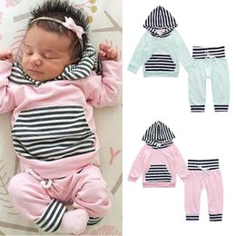 Wholesale Hoodie For Boys - Girls Clothing 2017 Spring Autumn Striped Cotton Long Sleeve Hoodies Pants Fashion Sets For Boys Baby Boy Clothes