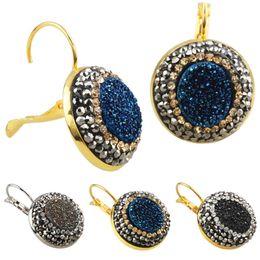 Wholesale Lever Back Ear - Women Vintage Crystal Titanium Druzy Quartz Lever Back Gold Plated Hoop Earrings