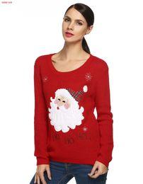 Wholesale Red Reindeer Christmas Sweater - Wholesale-Black Red Christmas Sweater Women 2016 knitted Sweaters Pullovers Cute Reindeer Snowman Autumn Winter Jumper pull femme hiver