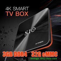 Wholesale flash media box - Hot S10 TV Box Amlogic S912 Octa Core DDR4 2GB 3GB RAM 16GB 32GB Flash Android 7.1 KD 17.3 Dual WiFi AC 1000M Bluetooth Media Player S905W