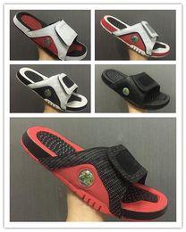 Wholesale Leather Soft Shoes Sandals - Air Retro 13 Mesh Bred Slide Sandals mens Slipper 13S slides BLACK white Red Scuffs outdoor & indoor Flip Flops men sandal shoes size 40-46