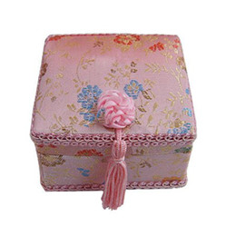 Wholesale Necklace Box Large - Decorative Lace Tassel Large Jewelry Gift Box Craft Packaging Floral Silk Brocade Cardboard Makeup Bracelet Bead Necklace Storage Case