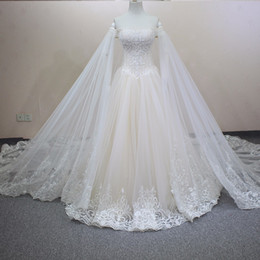 Wholesale Ivory Beaded Lace Chapel Veil - Handmade Luxury Crystals Beaded A-Line Wedding Dresses 2018 With Detachable Veil Customized Size Champagne Wedding Gown WD125
