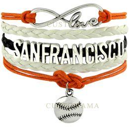 Wholesale Custom Gold Bracelets - Wholesale-(10 PCS Lot) Infinity Love San Francisco Baseball Charm Multilayer Bracelet for Baseball Fans Black Orange White Leather Custom