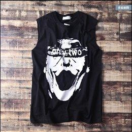 Wholesale Awesome Skulls - Wholesale- Men hiphop plus size clothing undershirt cheap sleeveless shirt loose plus size fashion boys teenage streetboys skulls awesome