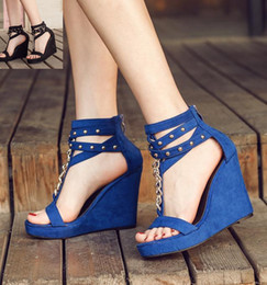 Wholesale Blue Zip Ties - 2017 Sexy high heels T strap rivets with chain blue black platform wedge sandals size 35 to 39
