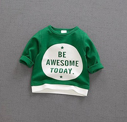 Wholesale Wholesale Fake Clothing - 2017 autumn new children clothing children fake two letters printed sweater tide men and women personality cotton wool long sleeved shirt
