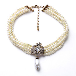 Wholesale Halloween Chockers - 2018 fashion luxury necklace jewelry women wedding chockers pearl necklace multi layer beads collares choker statement necklaces