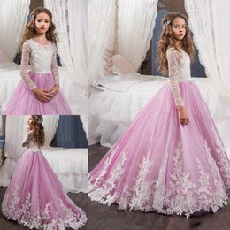 Wholesale Ivory Flower Belt - 2017 New Pink Lovely Long Sleeves Flower Girl Dresses Princess Crew Necl Lace Bodice Appliques Belt Girl's Pageant Dresses with Sweep Train